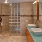 Glass Brick Wall Cream Bathroom Tiles Cabinet Light Blue Countertop Rectangular Sink Mirror Brass Tap