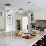 Glass Ceiling Lamps Exodus White Countertop White Cabinet Grey Tiled Backsplash