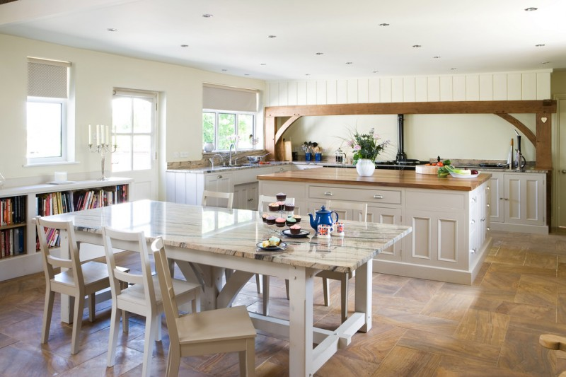 glossy cream kitchen table chairs white cabinet medium tone wooden floor bookshelves