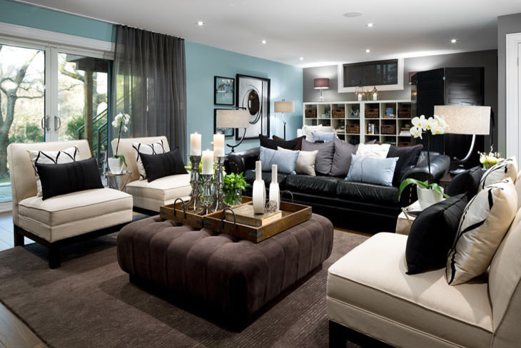 Glossy Plain Pillows In Leather Couch For Elegant Look Modern Living Room