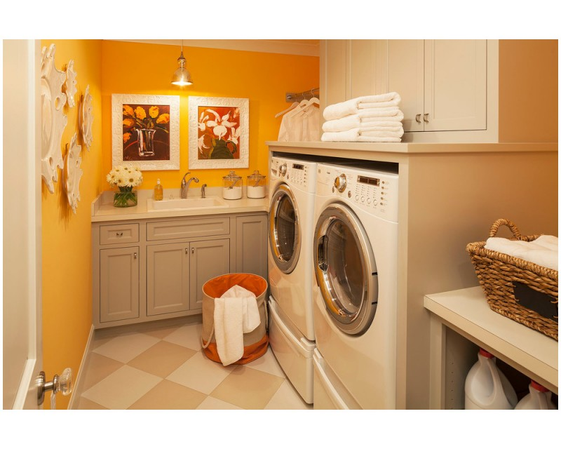 grey desk cabinets with sink in sweet orange laundry room