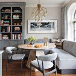Grey Magazines Cabinet Grey Cabinets Medium Tone Hardwood Floors An Island Orange Floors Hanging Lamp Pendant Lamp Beige Wall