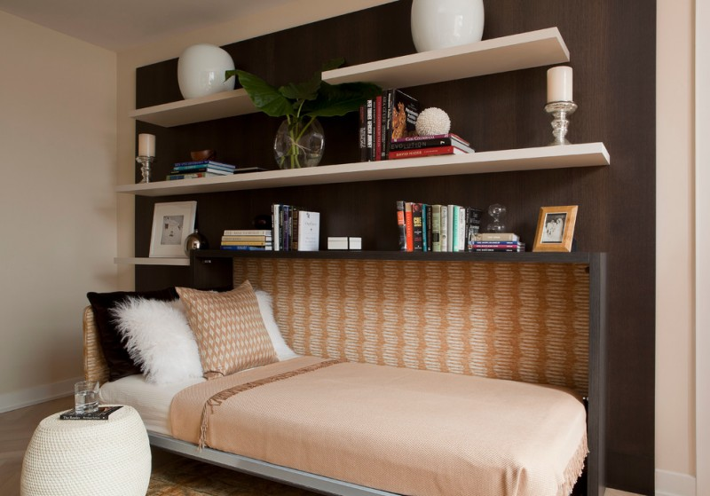 guest bed ideas carpet pillow shelves books small table contemporary bedroom decorative plant