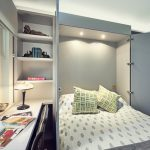 guest bed ideas window door transitional bedroom shelves book pillows lamp