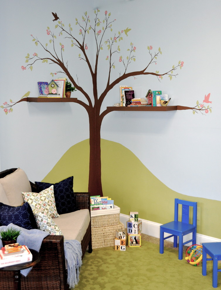 hand painted wall paint idea tree picture decoration green area rug rattan chair with accent pillows two small blue chairs