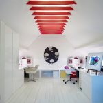 Home Office With Vaulted Ceiling, Red Wooden Beam, White Wooden Floor, White Wall, White Table With Blue Side, White Chairs With Red Cushion, Red Table Lamp