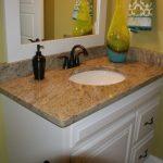 Ice Brown Granite Countertop White Cabinet Dark Faucet White Door Undermount Sink White Mirror