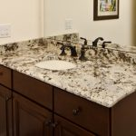 Ice Brown Granite Countertop Wood Cabinet Dark Faucet Mirror Undermount Sink