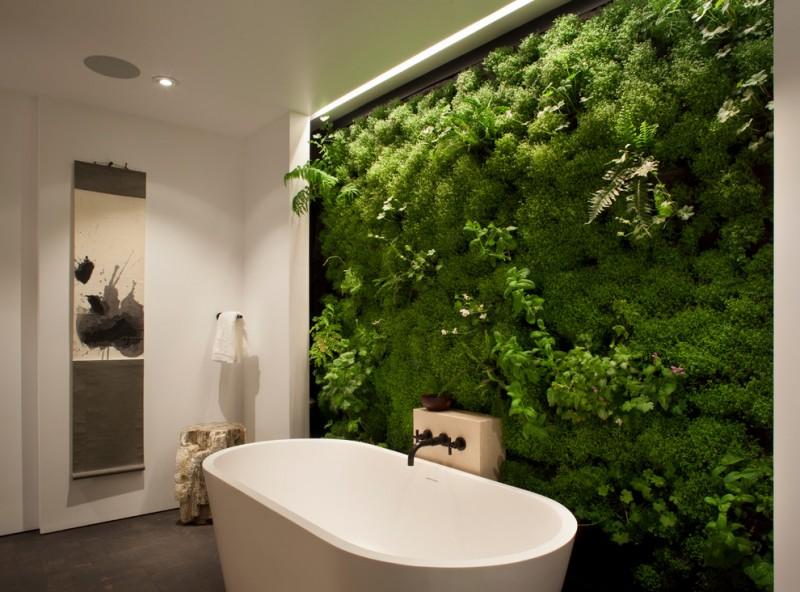 indoor planting idea contemporary bathroom bathtub faucet towel rack painting plants ceiling lamp