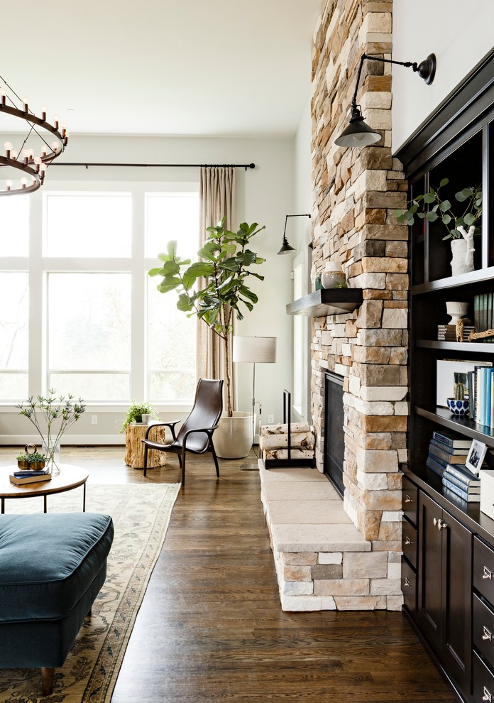 indoor planting idea hardwood floor drawers bookshelves books wall lamps carpet chair living room windows curtain fiddle leaf fig