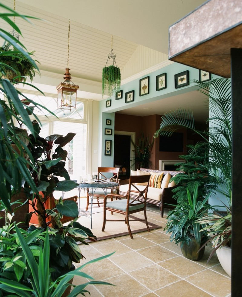 indoor planting idea mediterranean sunroom chairs table pillows hanging lights paintings plants