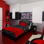 Industrial Theme Bedroom Bed Setting For Boys Red And Black Bedroom Idea Hanging Guitar Motorcycle Bedding