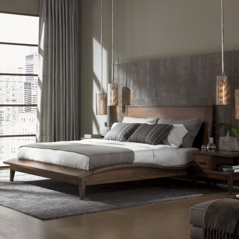 industrial wood platform bed design for urban people cool shabby wood wall in grey contemporary hanging night lamps grey area rug under bed