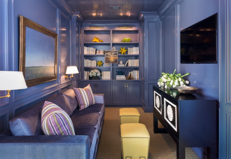interior designs for small space family room wall tv bookshelves cabiners blue sofa pillows painting wall lights