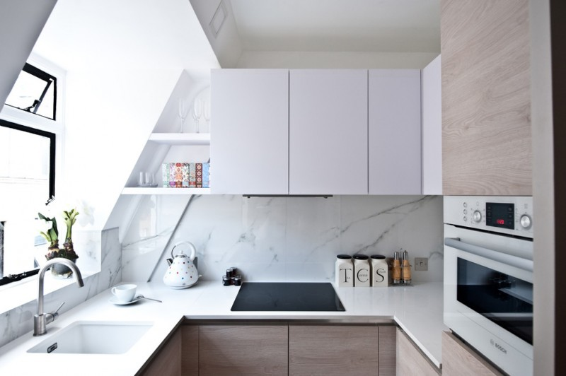 interior designs for small space kitchen bright room wall cabinets faucet sink window shelf appliances