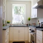 Interior Designs For Small Space Kitchen Wood Floor Wall Cabinets Drawers Window Faucet Sink Traditional Style