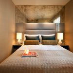Interior Designs For Small Space Narrow Bedroom Bed Pillows Window Lamps Antique Mirror Contemporary Design