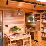 Interior Designs For Small Space Wood Floor Wall Cabinets Dining Chairs Table Bookshelf Laptop Books Kitchen Home Office Dining Room
