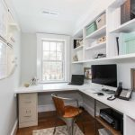 Interior Designs For Small Space Wood Floor Window Cabinets Home Office Carpet Chair Shelves Laptop Basket