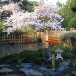japanese garden exhibition model cherry blossoms stones trees flowers beautiful landscape