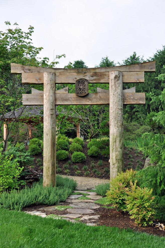 japanese garden exhibition model gate kanji grass plants roof beautiful asian landscape