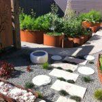 japanese garden exhibition model paths tree patterns stones grass pots plants herbs vegetables contemporary landscape