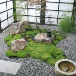 japanese garden exhibition model pebbles grass small trees screen asian landscape stones