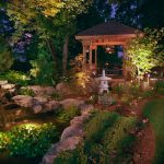 japanese garden exhibition model pond flowers grass plants pavilion seating asian landscape trees stones lighting