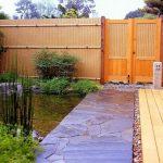 Japanese Garden Exhibition Model Pond Wood Floor Stones Plants Bamboo Fence Wood And Bamboo Door Asian Landscape