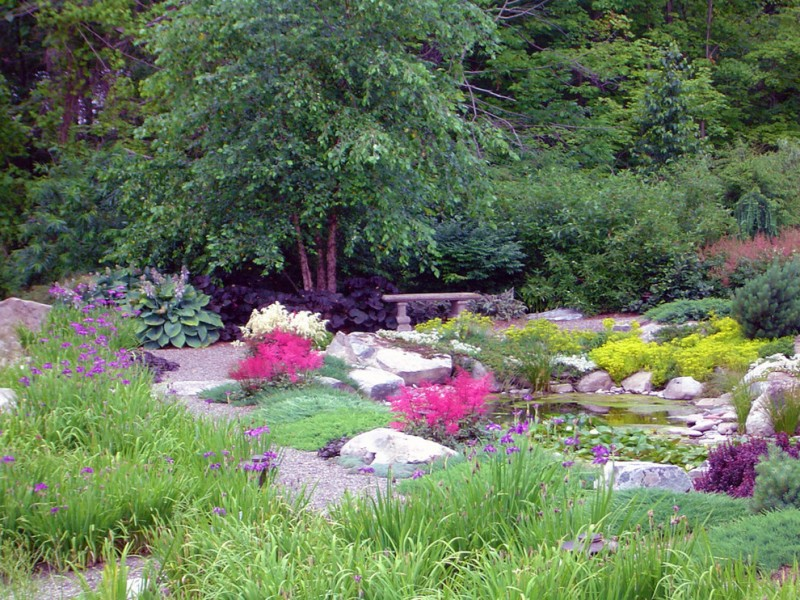 japanese garden exhibition model small pond flowers grass trees stones traditional asian landscape seating