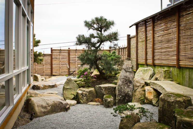 japanese garden exhibition model stones fence glass windows tree flowers asian landscape