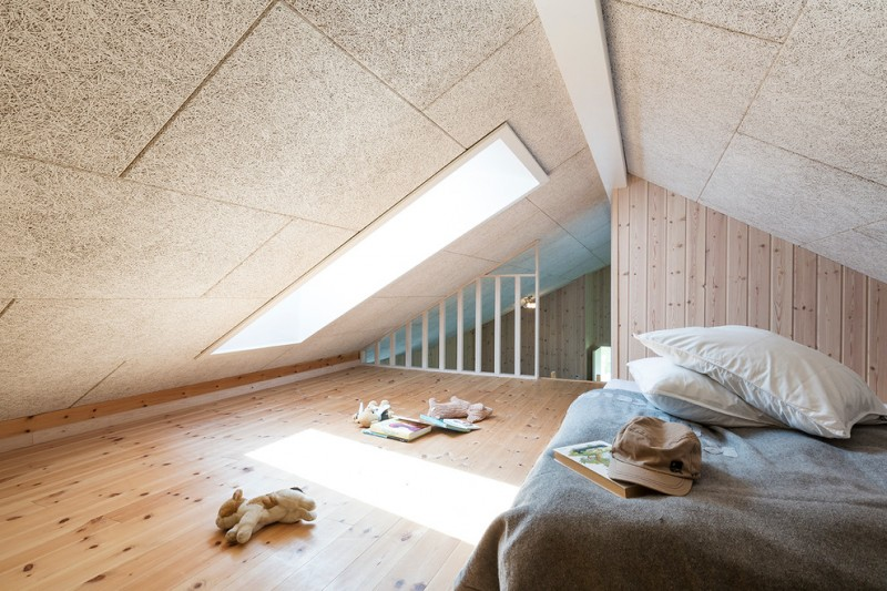 kids' room at lower attic space mid size skylight wood floors and walls grained ceiling