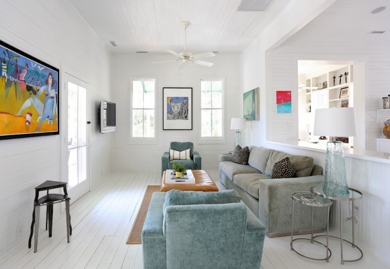 living room with white wood panel flooring