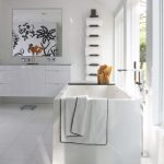 minimalist interior design storage bathtub floor tile towel rack cabinet faucet mirror