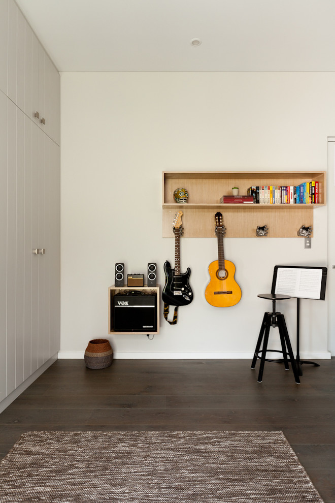 minimalist interior design storage carpet home office scandinavian style wall storage guitar