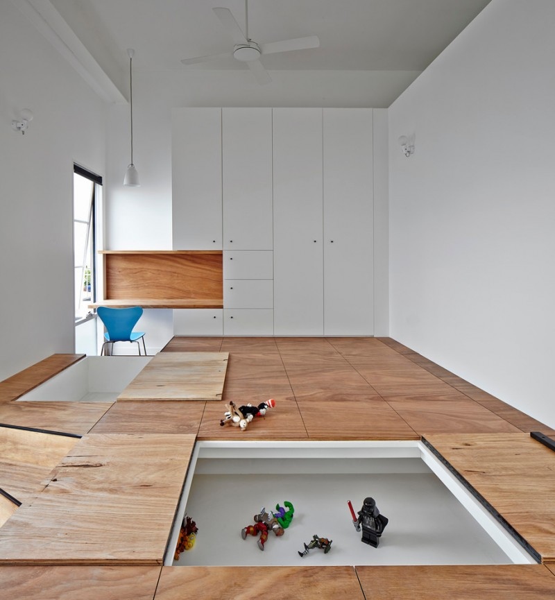 minimalist interior design storage kids room floor storage toys unique storage contemporary room