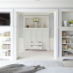 Minimalist Interior Design Storage Master Bedroom Cabinets Shelves Flowers Transitional Room