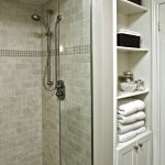 Minimalist Interior Design Storage Small Tiles Cabinet Shelves Towel Shower Traditional Bathroom