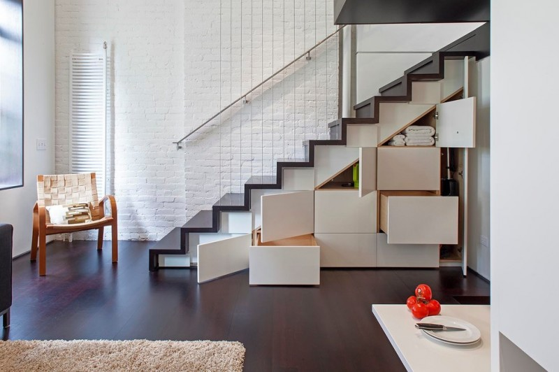 minimalist interior design storage stairs carpet hardwood floor chair railing staircase