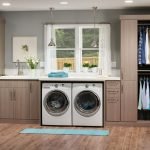 Modern Dark Tan Utility Cabinets In One Side Of Room