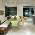 Modern Dining Nook Green Table White Chair Wooden Built In Chair Ceramic Floors White Walls White Floors