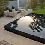 Modern Edge Pool With Blue Tiles White Tile Floors White Sofas