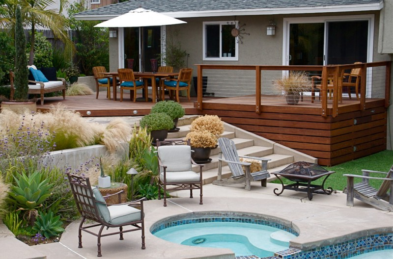 modern exterior idea with front deck horizontal deck skirting stanless steel cable railing system simple and small front yard with mini pool exterior furniture sets