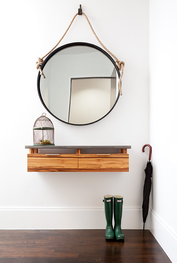 modern hanging mirror adjust to the wall table wooden table simple design cilindrical medium mirror