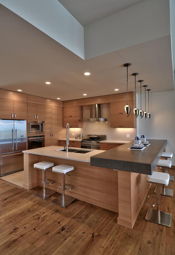 modern kitchen cupboard design hardwood floor hanging lamps wall cabinets lights contemporary design stools