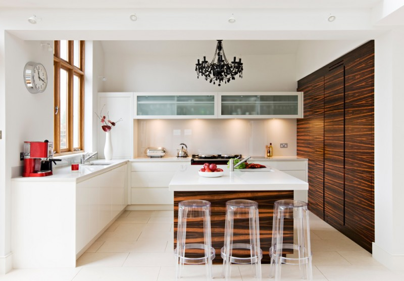 modern kitchen cupboard designs clear dining chairs clock window wall rack chandelier