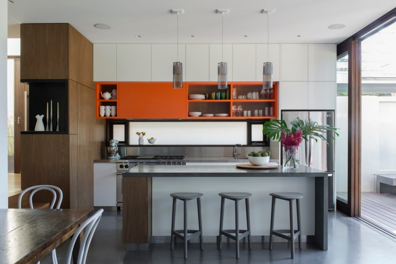 modern kitchen cupboard designs dining chair table storage space wall cabinet sink contemporary design hanging lamps