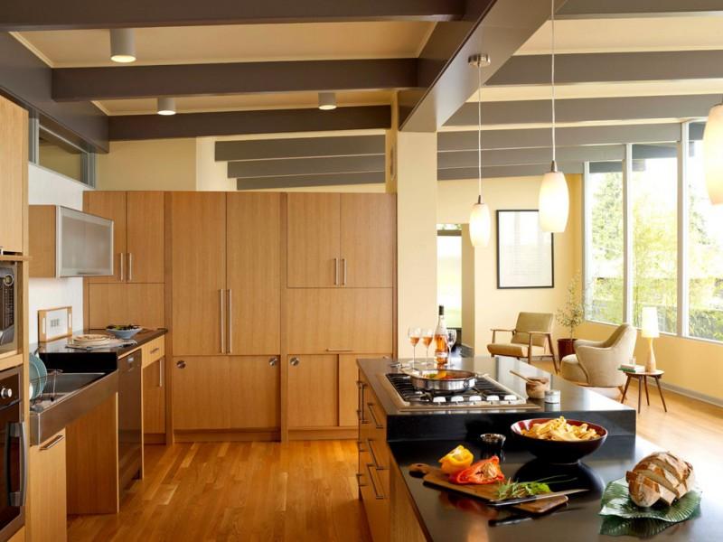 modern kitchen cupboard designs hardwood floor big windows table lamp mid century style room chairs hanging lights