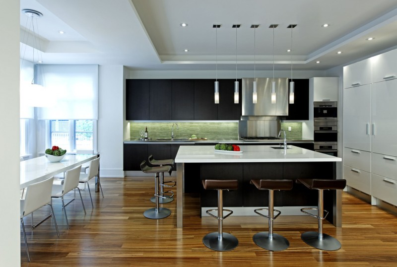 modern kitchen cupboard designs white dark cabinets dining chairs table hanging lamps ceiling lights window wood floor
