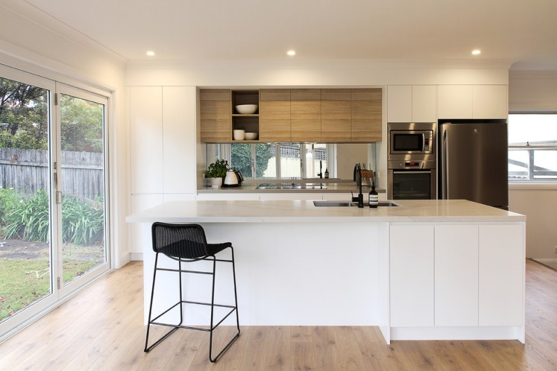 modern kitchen cupboard designs wood floor glass door wall cabinets contemporary design ceiling lights tall dining chair